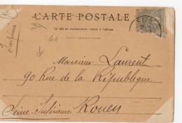Blanc 1c Gris N°107, Tarif Imprimé Sous Bande, 1902, Carte CAEN Passerelle Et Barrage Sur L'orne - Marcofilie (Brieven)