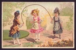 Cartão Publicidade LOJA MODAS - Rua Aurea 269 LISBOA Portugal. Old Victorian Trade Card CHROMO VTC Girls Skip Rope 1880s - Cromo