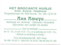 Visitekaartje - Carte Visite - Het Brocante Huisje - Ann Ameye - Kortrijk - Visiting Cards