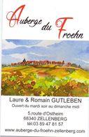 Visitekaartje - Carte Visite - Auberge Du Froehn - Laure & Romain Gutleben - Zellenberg - Visiting Cards