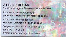 Visitekaartje - Carte Visite - Uurwerkmaker Horloger - Atelier Begas - Merchtem - Visiting Cards