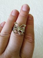 Silver Tone Butterfly Ring - Rings