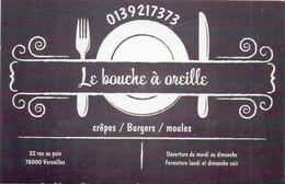 Visitekaartje - Carte Visite - Restaurant Le Bouche à Oreille - Versailles - Visiting Cards
