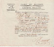 12 Octobre 1793 / An 2 / Subsistances Militaires Belfort / Attestation Livraison 2634 Livres De Froment - Army & War