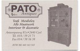 Visitekaartje - Carte Visite - Antiek Pato Antiques - Meubelen - Geel - Visiting Cards