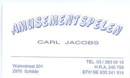 Visitekaartje - Carte Visite - Amusementspelen Carl Jacobs - Schilde - Visiting Cards
