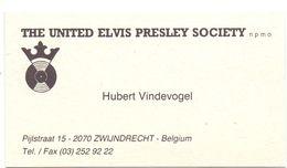 Visitekaartje - Carte Visite - The United Elvis Presley Society - Fanclub - Hubert Vindevogel - Zwijndrecht - Visiting Cards