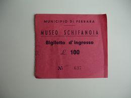 Museo Schifanoia   Italia Ticket Entree Timbre Fiscal - Tickets D'entrée