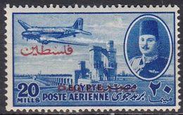 P046Bis – PALESTINE – EGYPTIAN OCCUPATION – AIR MAIL VARIETY - 1948 – KING FAROUK & DC-3 - MH - Palestina