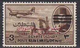 P053 – PALESTINE – EGYPTIAN OCC. – AIR MAIL - 1953 – KING FAROUK & DC-3 WITH 3 BARS – SC NC26 MNH 17 € - Palestina