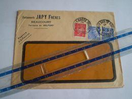 Enveloppe Commerciale JAPY Frères à Beaucourt, Cachet L'Isle Sur Le Doubs Sur Pétain 1f + Mercure 2 X 10c; Tre Belfort - 1921-1960: Periodo Moderno