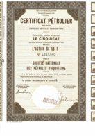 75-PETROLES D'AQUITAINE. STE NATIONALE DES ... Certificat 11/1975 - Acciones & Títulos
