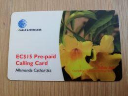ST KITTS & NEVIS  $15,- Flower Alamanda Catharica  SKB -35   Prepaid     Fine Used Card  ** 2182** - Saint Kitts & Nevis