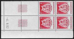 TERRES AUSTRALES N° 172** BLASON COIN DATE DU 04/08/92 - Unused Stamps