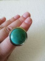 Silver Tone  Artificial Turquoise Ring - Rings