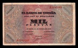 España Spain 1000 Pesetas Burgos 1938 Pick 115 Serie A MBC VF - [ 3] 1936-1975 : Régence De Franco