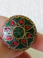 Bronze  Tone  Mosaic Of Malachite And Corall Ring - Rings