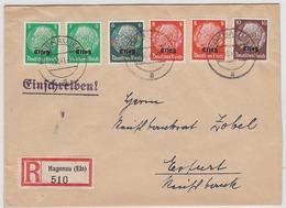 Deutsche Besetzung Elsass  R-Brief Mit Bunter Frankatur Von Hagenau Nach Erfurt + AKs - Occupazione 1938 – 45