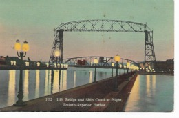 CPA - USA : Lift Bridge And Ship Canal  In Night - DULUTH - Superior  Harbor - Minnesota - Duluth