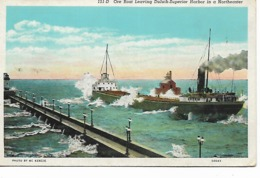 CPA - USA :  Ore Boat  Leaving   DULUTH -  Superior Harbor In A Northeaster - Minnesota - 1940 - Duluth