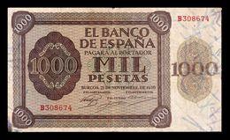 España Spain 1000 Pesetas Burgos 1938 Pick 115 Serie A MBC VF - 1000 Pesetas