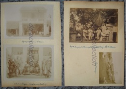 VIETNAM TRA VINH 4 Photographies 1890 Magasin Chinois Chine Orchestre Cambodge Lieutenant Photo 19e Indochine Indo China - Old (before 1900)