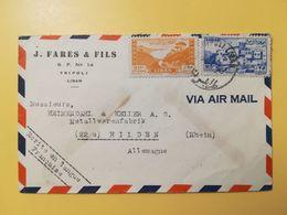 1949 BUSTA INTESTATA LIBANO LIBAN AIR MAIL BOLLO PAESAGGI LANDSCAPES CRUSADER TRIPOLI TAXE ANNULLO OBLITERE' TRIPOLI - Líbano