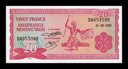 Burundi 20 Francs 2001 Pick 27d SC UNC - Burundi
