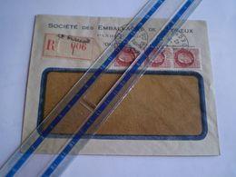 Enveloppe Commerciale Recommandée Ets PANDRAU à Le Pouzin, Ardèche, Cachet Le Pouzin Sur Pétain 3 X 1.50f.1943 - 1921-1960: Periodo Moderno