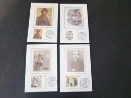 """BELG.1998 2741 2742 2743 & 2744 Mcards Soie/zijde (Gent)   : """" Kunst In Belgie /Art En Belgique """" - FDC"""