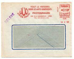 RHONE - Dépt N° 69 = LYON GUILLOTIERE 1958 = EMA  / FLAMME ROUGE = JUD / UNION PHOTO / ARTS GRAPHIQUES + PHOTOGRAVURE - Marcophilie (Lettres)