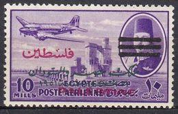 P054 – PALESTINE – EGYPTIAN OCC. – AIR MAIL - 1953 – KING FAROUK & DC-3 WITH 3 BARS – SC NC28 MNH 25 € - Palestina