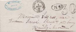 ORNE  Pli  De  DOMFRONT  Oblitération  JUVIGNY  SOUS  ANDAINE  Taxe 30 +  Boite  Mobile  1869 - 1849-1876: Période Classique