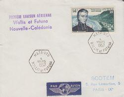 Enveloppe   1ére  Liaison   WALLIS  Et  FUTUNA  -  NOUVELLE  CALEDONIE  1957 - Covers & Documents