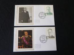 """BELG.1998 2738 & 2739 FDC's Soie/zijde (Namur)  : """" Belgische Dynastie / La Dynastie Belge """" - FDC"""