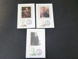 """BELG.1998 2738 & 2739 & 2740 Mcards Soie/zijde (Bruxs)  : """" Belgische Dynastie / La Dynastie Belge """" - FDC"""