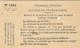 Janv. 1898 - Formulaire N°1492 - Renvoi De La Valeur Ci-jointe Pour Le Motif Indiqué Ci-après - Lettere Tassate