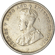 Monnaie, Ceylon, George V, 25 Cents, 1917, TTB, Argent, KM:105 - Sri Lanka