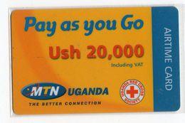 OUGANDA RECHARGE MTN AIRTIME CARD 20,000 USH CROIX ROUGE RED CROSS - Télécartes