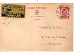 REF1338/ Entier CP -10% Surcharge Locale + Vignette R.De Ruyck Photo D'Art C.Tournai 10/12/1947 > BXL - Entiers Postaux
