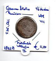 DUITSLAND GERMAN STATES PRUISEN 1/6 THALER 1822A ZILVER FRIEDRICH WILHELM II - Sin Clasificación