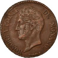 Monnaie, Monaco, Honore V, 5 Centimes, Cinq, 1837, Monaco, TTB+, Cuivre - 1819-1922 Honoré V, Charles III, Albert I