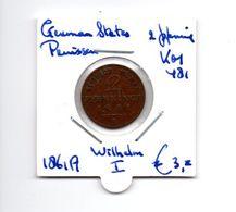 DUITSLAND GERMAN STATES PRUISEN 2 PFENNIG 1861A WILHELM I - Sin Clasificación