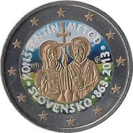 SLOVAQUIE - 2 Euros Commémorative Couleurs - 1150 éme Anniversaire De L'avènement De La Mission St-cyrille 2013 - Slovaquie