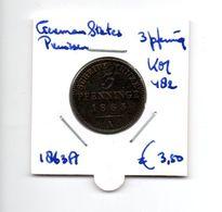 DUITSLAND GERMAN STATES PRUISEN 3 PFENNIG 1863A - Sin Clasificación