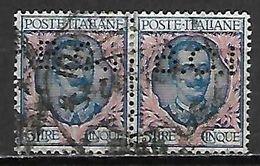 ITALIE   -  1901  . Y&T N° 74 Oblitérés .  En Paire .  Perforé BCI  /  Perfin BCI - Usati