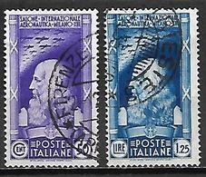 ITALIE   -   1935   . Y&T N° 366 / 367 Oblitérés .     Astronautique  /  Da Vinci - Usati