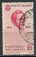 ITALIE   -   1935 .   Y&T N° 368 Oblitéré.   Bellini  /  Musique - Usati