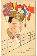 AT LAST OLD COLOUR PATRIOTIC POSTCARD WW1 FLAGS ALLIES - Patriotiques