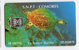 COMORES TELECARTE S.N.P.T REF MV CARDS COM-9 TORTUE 50 U Date 1994 - Comoren